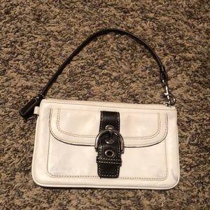 White leather coach wristlet